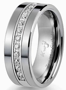 Diamond Tungsten Modern Men's Wedding Ring Band 8mm 0.25ct Anniversary Bridal