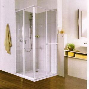 Duschkabine 175 cm hoch, 80 bis 90 cm 90 x 90 Eckeinstieg variabel silber +weiß