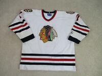 Starter Chicago Blackhawks Shirt Adult Extra Large White Red SEWN NHL Hockey 90s