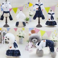 2018 Cute Summer Couple Pet Clothes Dress Puppy Small Dog Cat Navy Style Apparel