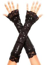 Shiny Sequined Lace Trim Elbow Length Long Evening Gloves Fingerless Arm Warmers