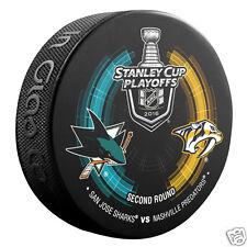 SAN JOSE SHARKS vs NASHVILLE PREDATORS 2016 Playoffs NHL DUELING LOGO PUCK NEW