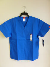 Dickies V Neck Scrub Top Unisex Eds 1 Breast Patch Pocket Royal # 810106 Xs-2Xl