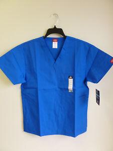 Dickies V Neck Scrub Top Unisex EDS 1 Breast Patch Pocket Royal  # 810106 XS-2XL