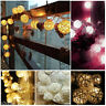 10/20 LED Rattan Ball Fairy String Lights Lamp For Xmas Home Wedding Party Decor