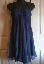 BCBG MAX AZRIA ADJUSTABLE STRAP DRESS BLUE COCKTAIL PROM PARTY 100% SILK-SIZE 0