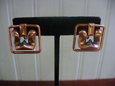 Vintage Solid Copper Filigree Flourish Dangle Square Screw-On Earrings
