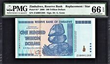 Zimbabwe 100 Trillion 2008 REPLACEMENT LOW Serial ZA 0001288 GEM UNC PMG 66 EPQ