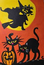 "ACEO CAT ""WAITING MY TURN FOR A WITCHES RIDE""  ACRYLIC 2000-now"