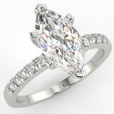 Diamond Engagement Ring 14K White Gold 1.43 Ct Marquise Cut Vs1/E Solitaire Pave