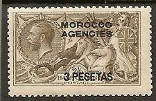 MOROCCO AGENCIES SPANISH 1918 KGV 3p ON 2/6 SEAHORSE (DLR)