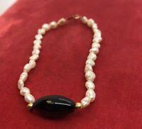 """14k Gold Estate Vintage Bracelet Rice Pearls Onyx 7"""" 2"""