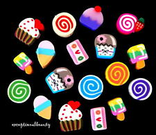 100 Fimo Polymer Clay Cupcake Jelly Roll Ice Cream Cone Bar Assorted Food Beads