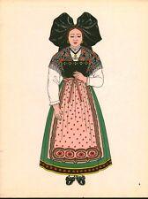 Gravure d'Emile Gallois costume des provinces françaises 1950 Alsace