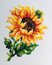 Counted cross stitch embroidery kit 14ct 9 x 11cm, sunflower, flower UK