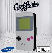 Game Boy Gameboy Retro Cool Fits iPhone & Samsung Leather Flip Case CoverD15