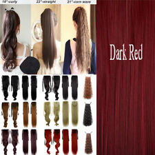 UK Drawstring Ponytail Piece Clip in on Pony Tail Hair Extensions Human Made lk9
