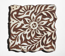 Floral Square Shaped 8.5cm Indian Hand Carved Wooden Printing Block (FSQ29)