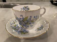 Stanley fine bone china tea cup and saucer Gold Leaf -England Blue Floral VTG.