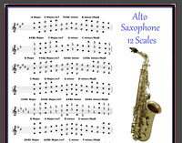 ALTO SAXOPHONE POSTER - 12 SCALES FOR LEAD SAX - IMPROVISE - ORCHESTRATE