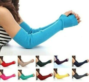 Women Thick Arm Cover 50cm Cashmere Long Sleeves Elbow Warmer Fingerless Mittens
