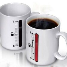 Mug Coffee Cup hot cold heat Color Change Fuel Gauge Wht Ceramic Buy 2, 1 Free