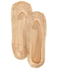 HUE Women's 2-Pack Lace Classic Perfect Edge Liner Socks One Size Beige