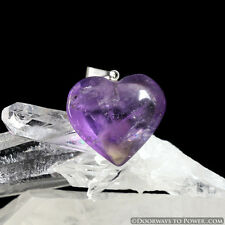 John of God Amethyst Crystal Heart Pendant Blessed and Energized