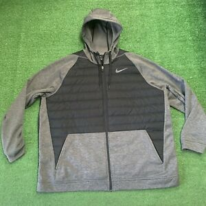 Nike Therma Winterized Size Full Zip Hooded Jacket Sz 3XL BLACK Men's EUC