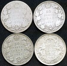 1906 1918 1929 & 1952 Canada Silver 50 Cent Silver Coins