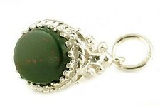 STERLING SILVER & BLOODSTONE FOB CHARM