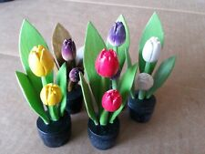 SET OF 6 WOODEN TULIPS IN POTS. HAND-CRAFTED AND FULLY ASSEMBLED. 3