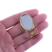 Miniature Oval Swing Dressing Mirror in Brass Stand Dolls House Accessories DD