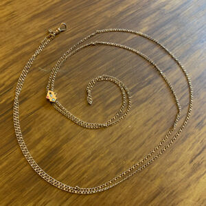 """D&G SEED PEARL Victorian 50"""" Gold Filled Lorgnette Necklace w/Slide Watch Chain"""