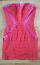 NEW SIZE 10 LITTLE MISTRESS STRAPLESS/STRAPPY BODYCON PINK CORAL RED DRESS PARTY