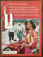1973 Viceroy Longs Cigarettes Print Ad Race Track Racing Car Female Photographer