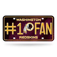 Washington Redskins #1 Fan Metal Embossed License Plate NFL Officially Licensed