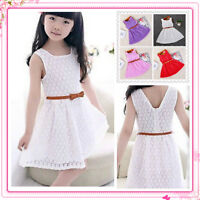 Girls Skater X'mas Dress Kids Lace Party Dresses Belted AGE 3 4 5 6 7 8 9 Years