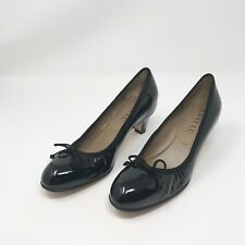 Anyi Lu Women's Black Patent Leather Pumps Size 5.5 Kitten Heels Round Toe