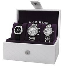 Akribos XXIV AK741SS Day Date GMT Diamond Crystal Accented Womens Watch Set
