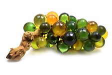 Vintage Plastic Lucite Grape Cluster on Driftwood Green Gold Yellow