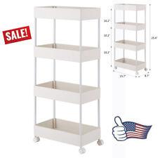 4 Tier Cart Kitchen Bathroom Mobile Shelving Unit Kitchen Storage Rack Furniture