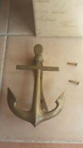 Vintage Solid Brass Anchor Door Knocker Nautical Retro w/Screws