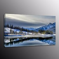 Home Decor Canvas Print Painting Picture Wall Art Beautiful lakes in winter