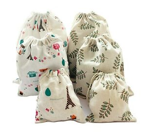 Set of 6 Cotton Drawstring Storage Bags, Pack 6 (Small+Medium+Large), Leaf Tower