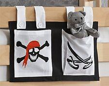 Stofftasche Seitentasche Betttasche für Hochbett Spielbett schwarz weiss Pirat