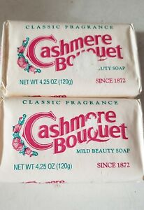 2 Bars: Vintage Cashmere Bouquet Beauty Soap, Bath Size 4.25 oz - Sealed, NOS