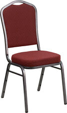 Crown Back Stacking Banquet Chair in Burgundy Patterned Fabric with Silver Frame
