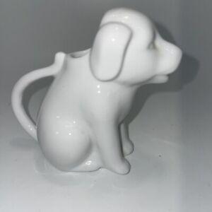 "White Individual Dog Creamer Syrup Holder Ceramic 3"""