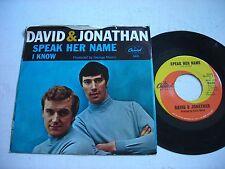PICTURE SLEEVE David & Jonathan Speak Her Name 1966 45rpm VG++